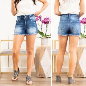 Kancan   Double Button High Rise Frayed Hem Shorts